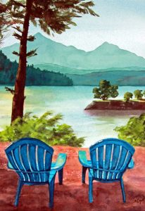 adirondack chairs lake wallowa relaxing view watercolor gottschalk