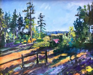 fence landscape corvallis outside sunset painting montgomery